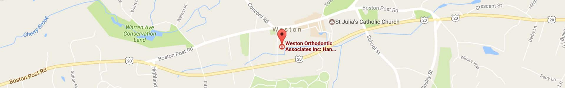 Weston Footer Map at Weston Orthodontics in Weston MA